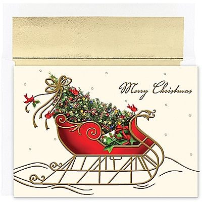 JAM Paper® Christmas Holiday Cards Set, Peace and Joy Holiday Sleigh, 16/pack (526843800)
