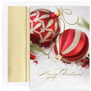JAM Paper® Christmas Holiday Cards Set, Red and Gold Ornament, 18/pack (526849900)