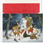 JAM Paper® Christmas Holiday Cards Set, Winter Santa Scene, 18/pack (526798300)