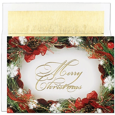 JAM Paper® Christmas Holiday Cards Set, Wreath Border, 2 packs of 18 (526798500g)