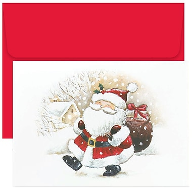 JAM Paper® Christmas Holiday Cards Set, Happy Santa, 18/Pack (52674630g)
