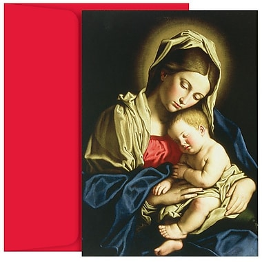 JAM Paper® Christmas Holiday Cards Set, Child at Rest and Madonna, 2 packs of 18 (52675000g)