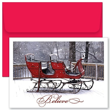 JAM Paper® Christmas Holiday Cards Set, Believe Sleigh, 2 packs of 18 (52678780g)