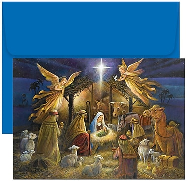 JAM Paper® Christmas Holiday Cards Set, A Holy Scene, 18/Pack (526798000g)