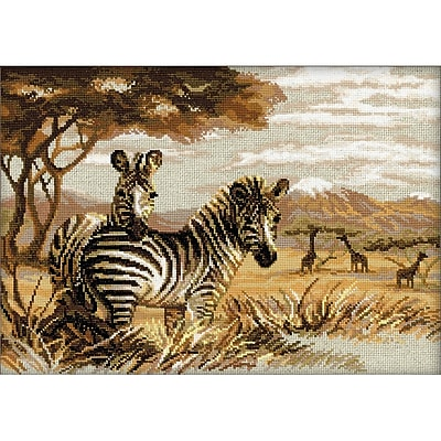 RIOLIS Zebras in the Savannah Counted Cross Stitch Kit, Multicolor