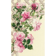 RIOLIS Pink Roses on Lattice Counted Cross Stitch Kit