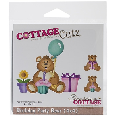 """""CottageCutz Die, Birthday Party Bear, 2.1"""""""" x 2"""""""""""""" 1437012"