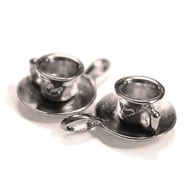 Fabscraps Silver Embellishments, Cup With Saucer