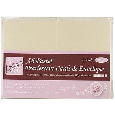 Docrafts® Anita's Pearlescent Cards And Envelopes, A6, Multicolor