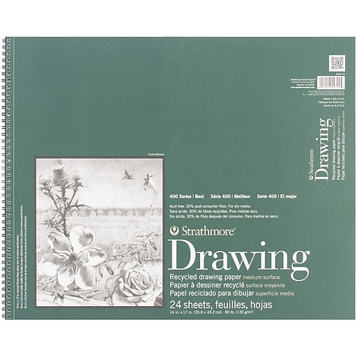 """Strathmore® 80 lbs. Recycled Drawing Paper Pad, 14"""" x 17"""", Bright white"""