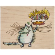 "Penny Black® Mounted Rubber Stamp, 3.5"" x 4.25"", Birthday Whiskers"