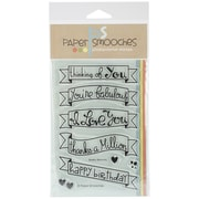 """Paper Smooches Clear Stamps, 4"""" x 6"""", Blissful Banners"""