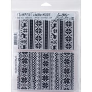 "Stampers Anonymous Tim Holtz Cling Rubber Stamp Set, 7"" x 8 1/2"", Holiday Knits"