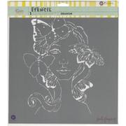 "Prima Marketing Bloom Stencil, 12"" x 12"", Gardenia"