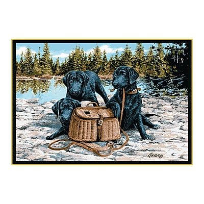 Custom Printed Rugs Wildlife Gone Fishing Black/Brown Area Rug; 3'1'' x 4'4''