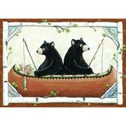 Custom Printed Rugs Wildlife Bears in Canoe Area Rug; 3'1'' x 4'4''