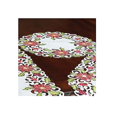 Xia Home Fashions Poinsettia Lace Embroidered Cutwork Round Doily (Set of 4); 16'' W x 16'' L