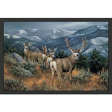 Custom Printed Rugs Wildlife Last Glance Mule Deer Novelty Outdoor Area Rug; 3'1'' x 4'4''