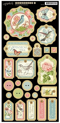 Graphic 45 Chipboard 1 Die-Cuts, Botanical Tea