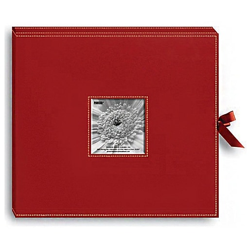 Pioneer Sewn Leatherette D Ring Scrapbook Box 13 X 145 Red