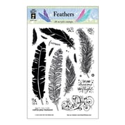 "Hot Off The Press 6"" x 4"" Acrylic Stamp, Feathers"