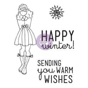 "Prima Marketing™ 4"" x 6"" Mixed Media Doll Cling Rubber Stamp, Warm Wishes Set"