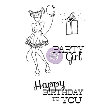 Prima Marketing™ Mixed Media Doll Cling Rubber Stamp, Party Girl Set