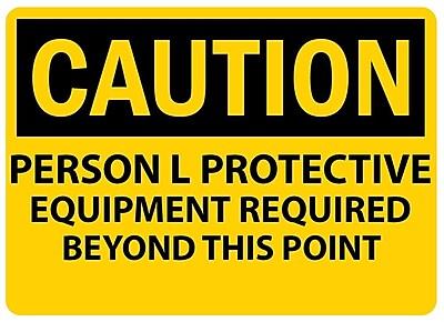 Caution, Personal Protective Equipment Req. . ., 10X14, Adhesive Vinyl