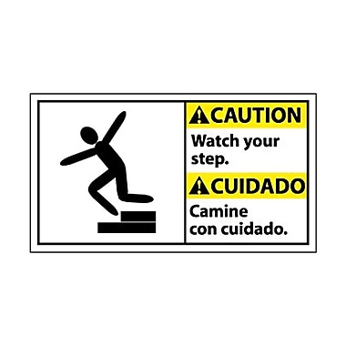 Caution, Watch Your Step (Bilingual W/Graphic), 10X18, Adhesive Vinyl