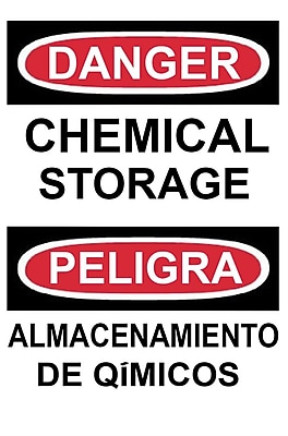 Danger, Chemical Storage, Bilingual, 14X10, Adhesive Glo Vinyl