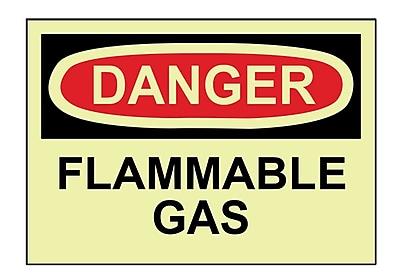 Danger, Flammable Gas, 10X14, Adhesive Vinylglow