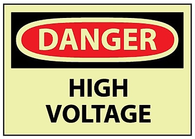 Danger, High Voltage, 10X14, Adhesive Vinylglow