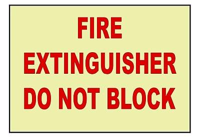Fire, Fire Extinguisher Do Not Block, 7X10, Adhesive Vinylglow