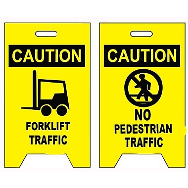 Floor Sign, Dbl Side, Caution Forklift Traffic Caution No Pedestrian Traffic, 20X12