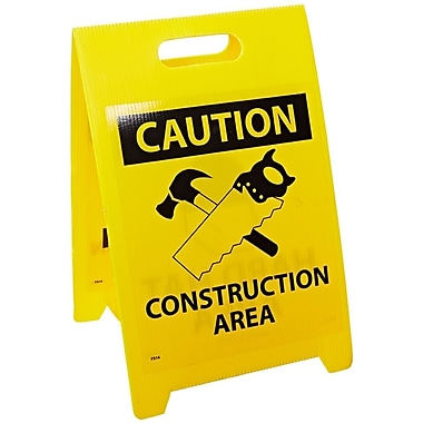 Floor Sign, Dbl Side, Caution Hard Hat Area Caution Construction Area, 20