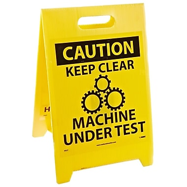 Floor Sign, Dbl Side, Caution Keep Clear Machine Under Test Caution Keep Clear Hazardous Area, 20