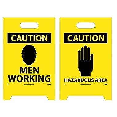 Floor Sign, Dbl Side, Caution Men Working Caution Hazardous Area, 20