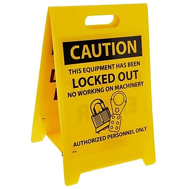 Floor Sign, Dbl Side, Caution This Equipment Has Been Locked Out. . .Caution Do Not Enter, 20