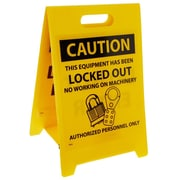 "Floor Sign, Dbl Side, Caution This Equipment Has Been Locked Out. . .Caution Do Not Enter, 20"" x 12"""