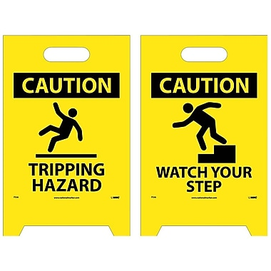 Floor Sign, Dbl Side, Caution Tripping Hazard Caution Watch Your Step, 20