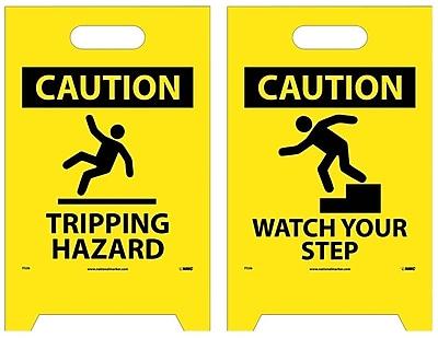 Floor Sign, Dbl Side, Caution Tripping Hazard Caution Watch Your Step, 20X12