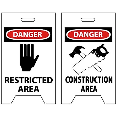 Floor Sign, Dbl Side, Danger Restricted Area Danger Construction Area, 20