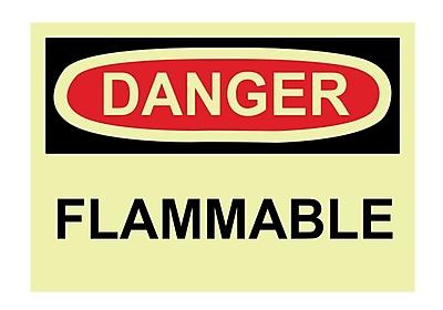 Glow Labels - Danger, Flammable, 3X5, Adhesive Vinylglow, 5/Pk