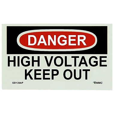 Glow Labels Danger, High Voltage Keep Out, 3