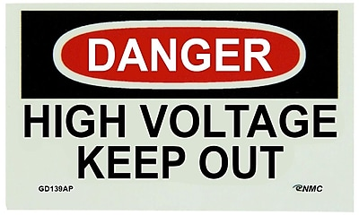Glow Labels - Danger, High Voltage Keep Out, 3X5, Adhesive Vinylglow, 5/Pk