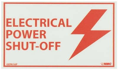 Glow Labels-Electrical Power Shut-Off, 3X5, Adhesive Vinylglow, 5/Pk