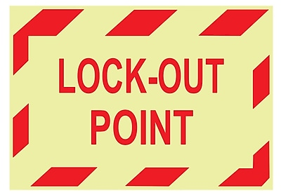 Glow Labels-Lock-Out Point, 3X5, Adhesive Vinylglow, 5/Pk