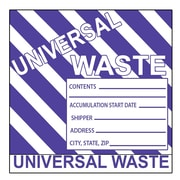 Hazard Labels, Hazardous Materials Shipping, Universal Waste Stripes, 6X6, Adhesive Paper, 500/Roll