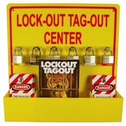 """Lock-Out Tag-Out Center with 1 Pack Of Lotag 1 and 1 Handbook, 16"""" x 16"""", Yellow Acrylic"""