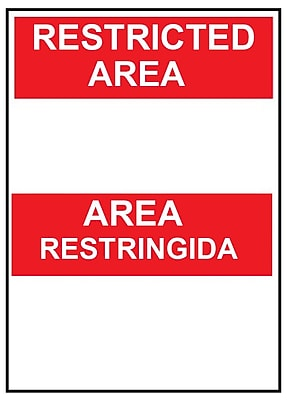 Restricted Area Area Restringida Blank, Bilingual, 14X10, .040 Aluminum